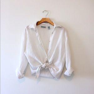 SOLD Vtg 90s White Linen Minimalist Button Shirt